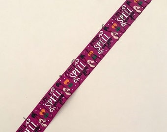 "Witch Ribbon | I Put A Spell On You Ribbon | Halloween Ribbon | Hair Bow Ribbon | US Designer Ribbon | 7/8"" Ribbon | Grosgrain Ribbon | Cat"
