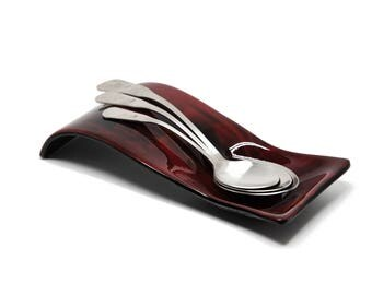 Red and Black Abstract Spoon Rest -  5153