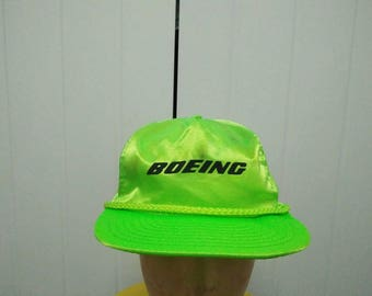 Rare Vintage BOEING Neon Light Green Cap Hat Free size fit all