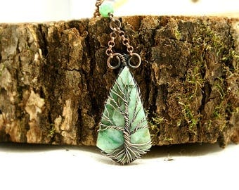 Tree of life necklace Amazonite, copper, brass