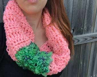 Chunky, Soft Handspun Yarn Cowl, Crochet Outlander Inspired Scarf, Colorful Fall Accessories, Pink / Green