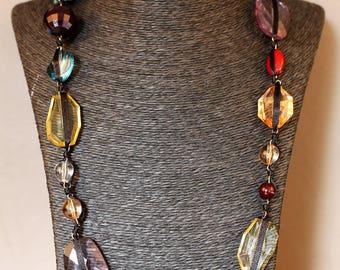 Vintage Rainbow Crystal Necklace
