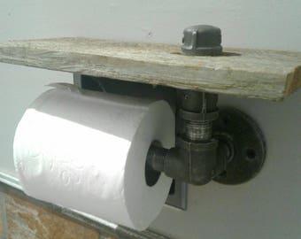 Rustic Industrial T.P. Dispenser w/ Small Reclaimed Cedar Shelf. Pipe decor