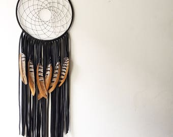 "Black Leather Dream Catcher, 10"" x 24"". Handmade. Wall Hanging."