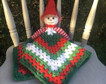 Christmas Elf Baby Comforter Blanket/Crochet Blanket/Crochet Elf/Baby Christmas/Christmas Elf