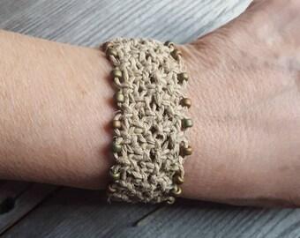 Hemp Cuff Macrame Bracelet natural organic iridescent czech beads retro jewelry
