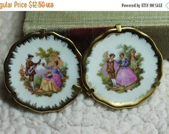 Christmas in July Sale Set of 2 Miniature Limoges Souvenir Plates with Stand - Gold Rim with Courting Couple Musicians