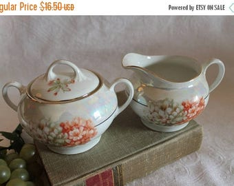 SALE Antique Z,S & Co Bavaria Porcelain Creamer and Sugar Bowl Set - Hand Painted Coral and White Flowers with Lustre Finish