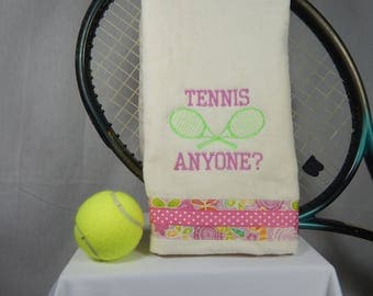 "Creme or Pick your Color ""Tennis Anyone"" Embroidered Tennis Towel"