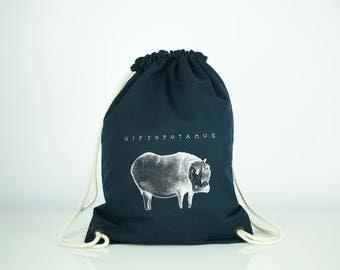 Sackpack, Xmas Gift, Canvas Bag, Gift For Teen, Bag With a Pocket, Cotton Bag, Sports Bag, Vegan Bag, Blue Bag, Hippo, Drawstring Backpack