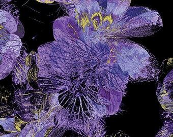 Kanvas - Floral Impression - Gold Metallic - Turquoise - Floral - Flowers - 8677M-66