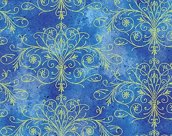 Kanvas - Floral Impression - Gold Metallic - Blue Background with Gold Metallic Filigree  - 8679M-52