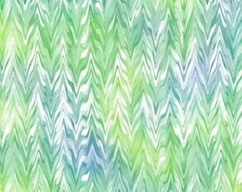 Quilting Treasures - Belle - Jade  - Watercolor Chevron -  Sold by the yard