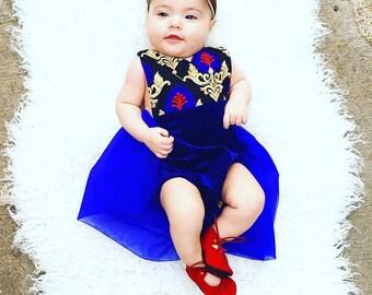 Brocade Velvet Skirted Romper *All Sizes, Kids Princess dress, Bohemian Baby clothing, Boho romper, Hippie baby, Shower gift