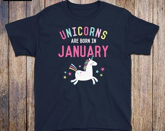Unicorns Are Born In January - Kids Birthday Shirt, rainbow, january birthday, unicorn mama, unicorn dad, birthday gift, vintage, athletic