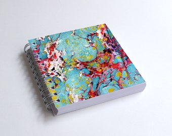 "Notebook 4x4"" decorated with motifs of marbled papers - 22"