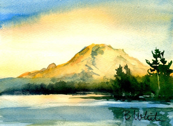 Mt. Rainier - original 5x7, matted to 8x10 watercolor painting
