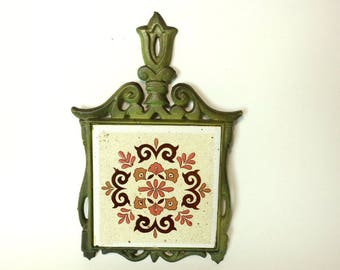 Vintage Green Cast Iron and Ceramic Trivet, Kitchen Wall Hanging, Taiwan