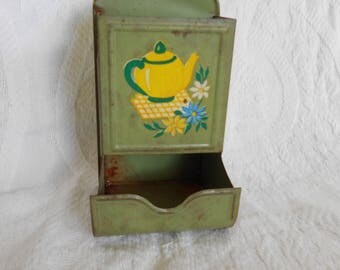 Vintage Green Metal Matchbox Holder Teapot and Daisies - Mid Century Modern Matchbox Holder- Mad Men Kitchen Matchbox - Ready to Ship