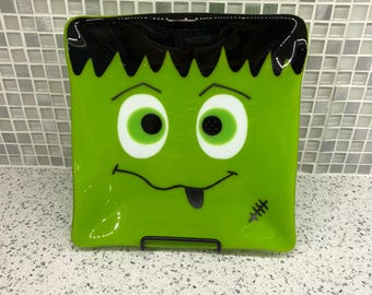 "Festive Fused Glass Monster Plate - 8.25"" Square"