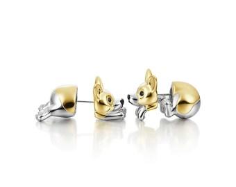 corgi 3D earring sliver gold plated earring corgi welsh corgi corgi lover gift pet earning stub earring Pembroke welsh corgi
