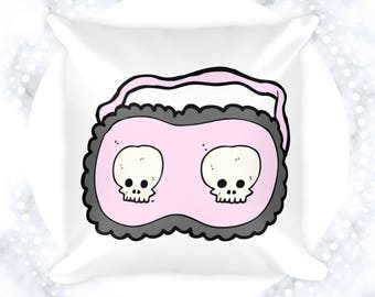 Skull Sleep Mask Throw Pillow | Pillow Cases | Edgy Accent Pillows | Decorative Pillows | Gifts for Her | Goth | Skulls | Bedroom Decor
