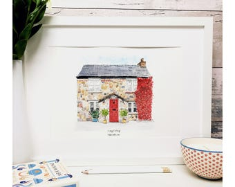 Custom house portrait. SMALL HOUSE. Watercolour.