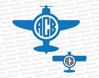 Airplane SVG Files, Airplane Monogram SVG Files, Plane Flight Monogram Cut File for Cricut Design Space, Airplane SVG File, Instant Download