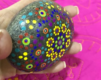 Mandala hand painted rock