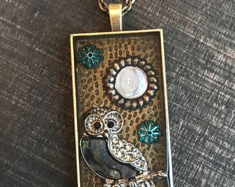 owl necklace, owl jewelry, pendant necklace, gift for her, long pendant, steampunk owl, steampunk necklace