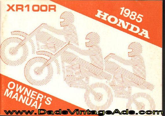 1985 Honda XR100R Owner's Manual #mm120