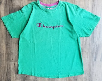 Champion Double Collar Logo Tee Size XL, Champion Embroidered T-Shirt, Fall Back 2 School Gear