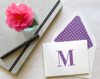 Personal Stationery with Monogram - Polka Dot Notecards - Personal Note Cards - Set of 10 - Purple and White Polka Dot