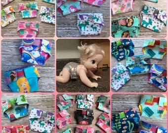 Baby Alive Diapers//reusable doll diapers//washable toy diapers//cloth doll diapers//American Girl diapers//easter basket gifts