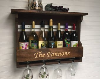 Personalized wine rack, engraved wine rack.Engraved personalized wine rack. Personalized gift.Wine glass rack.Housewarming gift.Wedding gift