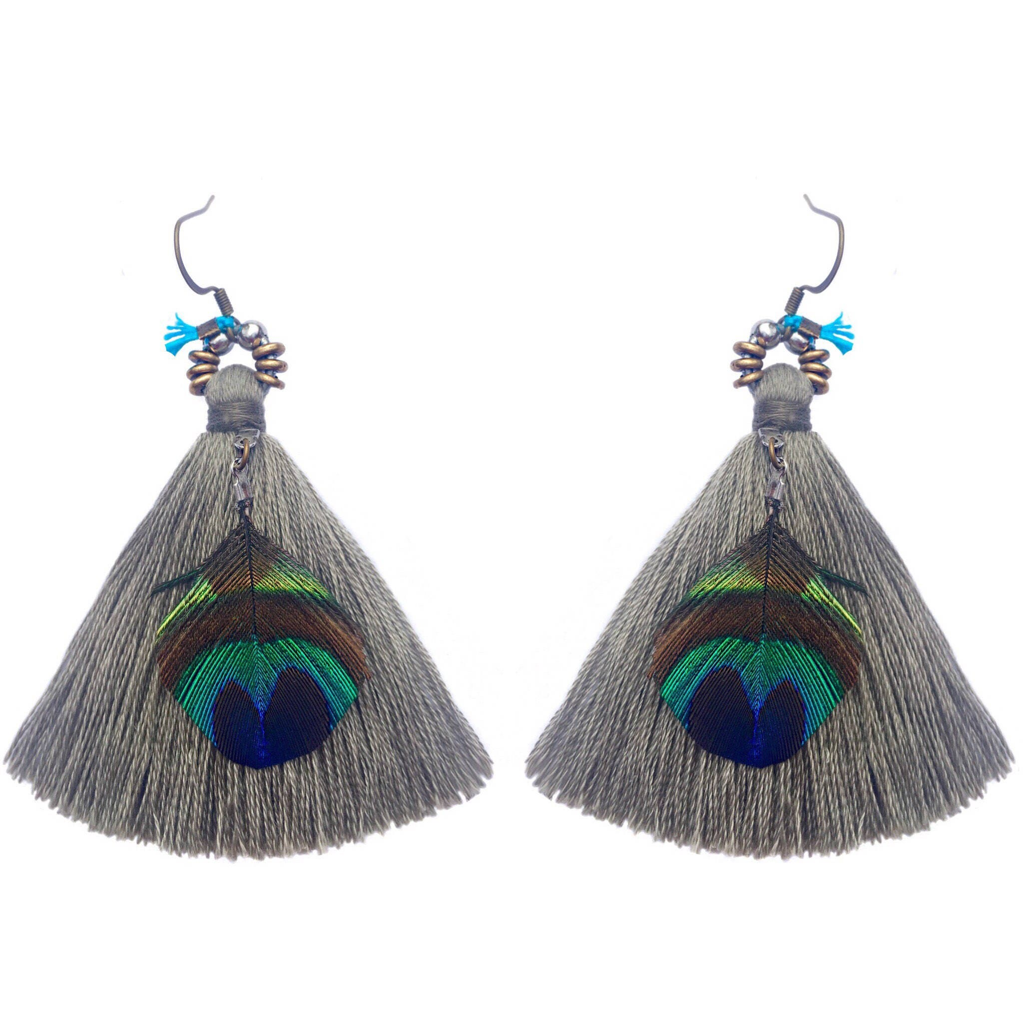 Gray tassels with peacock feathers and brass biocorpaavc Gallery