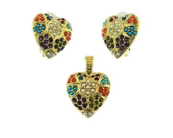 D'Orlan Buried Treasure Heart Pendant and Earring Set, Gold Heart Pendant and Earring Set
