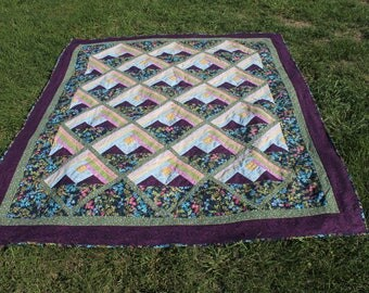 quilt/blanket/mountains/floral/flowers/quilted/free shipping/fleece