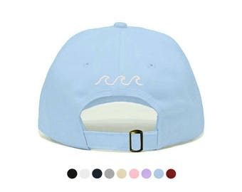 Waves Embroidered Dad Cap, Unstructured Low-Profile Baseball Hat, Adjustable Strap Back, One Size (Multiple Colors)