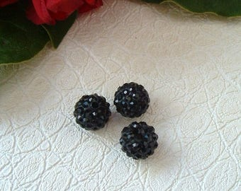 Pearl SHAMBALLA 10mm color: BLACK resin and rhinestones