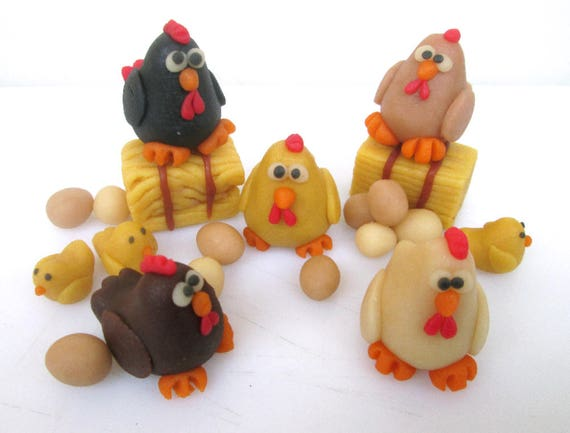 marzipan chicken set 20 chicken cake topper chicken farm