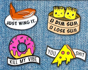 FOOD PUNS Enamel Lapel Pin badge pins brooch foodie denim gift cosplay costume funny pizza chicken dumpling pizza punny girlfriend boyfriend