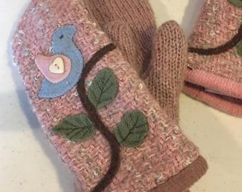 Blue bird sweater mittens