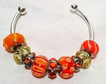 Orange Beaded Charm Bangle