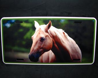HORSE METAL Novelty License plate For cars Beige Horse