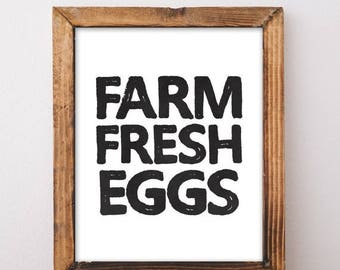 ON SALE Farm Fresh Eggs Sign - Farmhouse Kitchen Decor - Farmhouse Style - Farmhouse Wall Decor - Farmhouse Sign - Digital Download Print -
