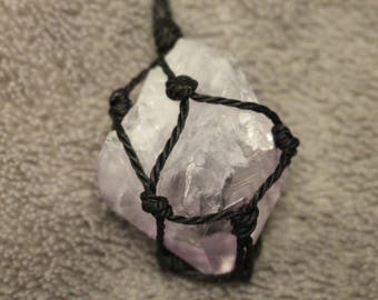 Raw Amethyst Crystal Point Light Purple Macrame Necklace