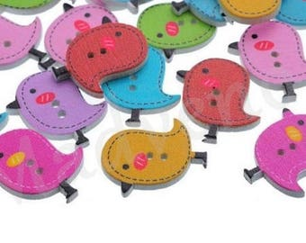 Set of 8 buttons wooden birds 1.8 x 2.5 cm