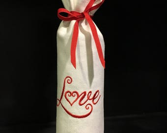 Valentine's Day Embroidered Wine Bag