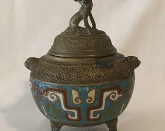 Antique 19th Century Cloisonné Brass Foo Dog Dragon Lidded Incense Censer